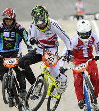 Charlotte Green mid-flight at the UCI BMX Supercross World Cup Manchester