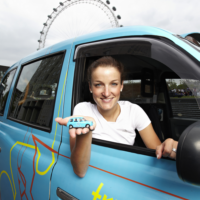 Lizzie Armitstead and Hornby taxi
